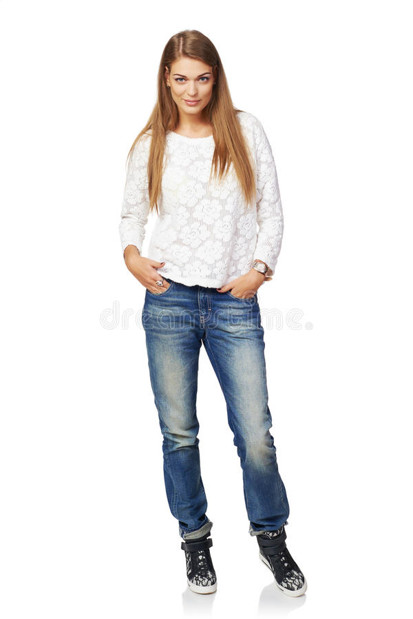 Full body smiling woman stock images