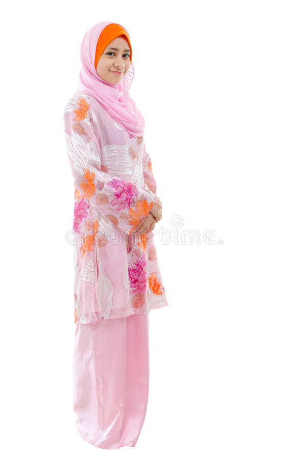 Full body Southeast Asian Muslim girl stock image