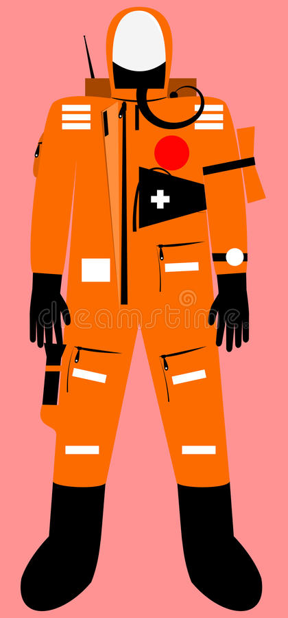 Full body survival suit. With communicator unit vector graphic vector illustration