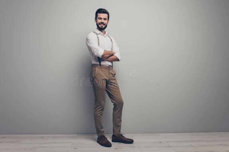 Full body turned photo of cheerful charismatic lawyer man cross hands ready choose work start-up choice wear modern. Full body turned photo of cheerful stock photos