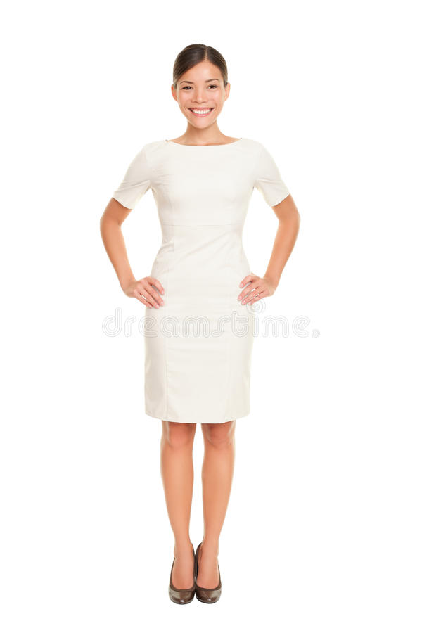Full body woman portrait standing. In business dress suit in full length isolated on white background. Beautiful young mixed race chinese asian / white stock images