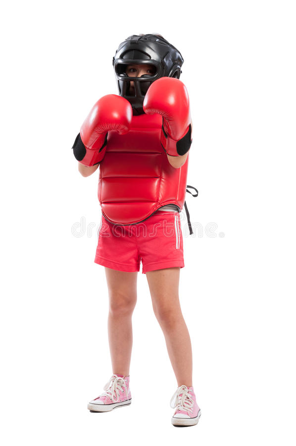 Full body of a young boxer girl with equipment. Full body of a young boxer girl with full equipment isolated on white background royalty free stock photography
