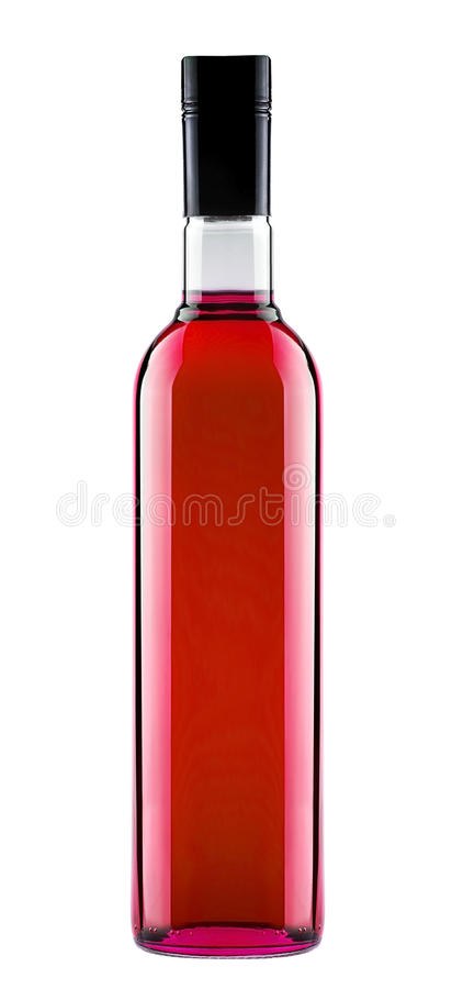 Full bottle of red alcoholic cocktail stock image