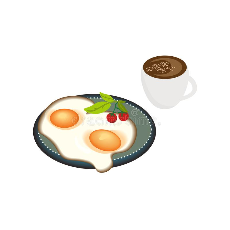 Full breakfast top view of the plate set with eggs, cherry tomato and greens and cup of coffe isolated realistic vector illustr. Ation vector illustration