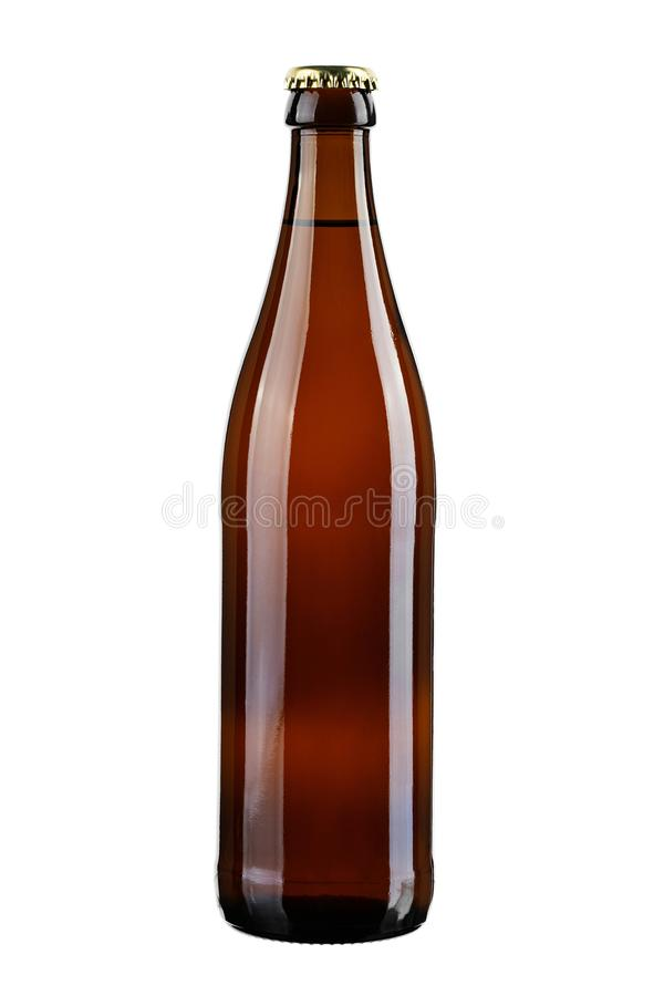 Full brown beer bottle stock image