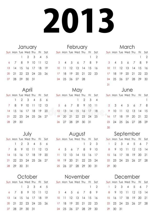 Full Calendar_2013 Royalty Free Stock Images