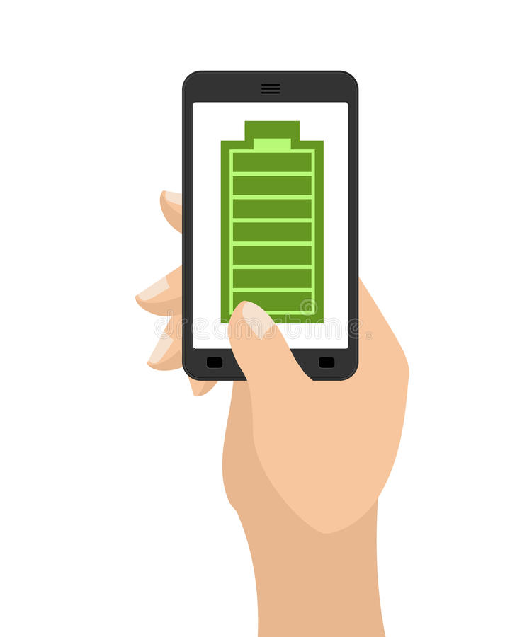 Full charge of smartphone battery. Green accumulator. Hand hold stock illustration