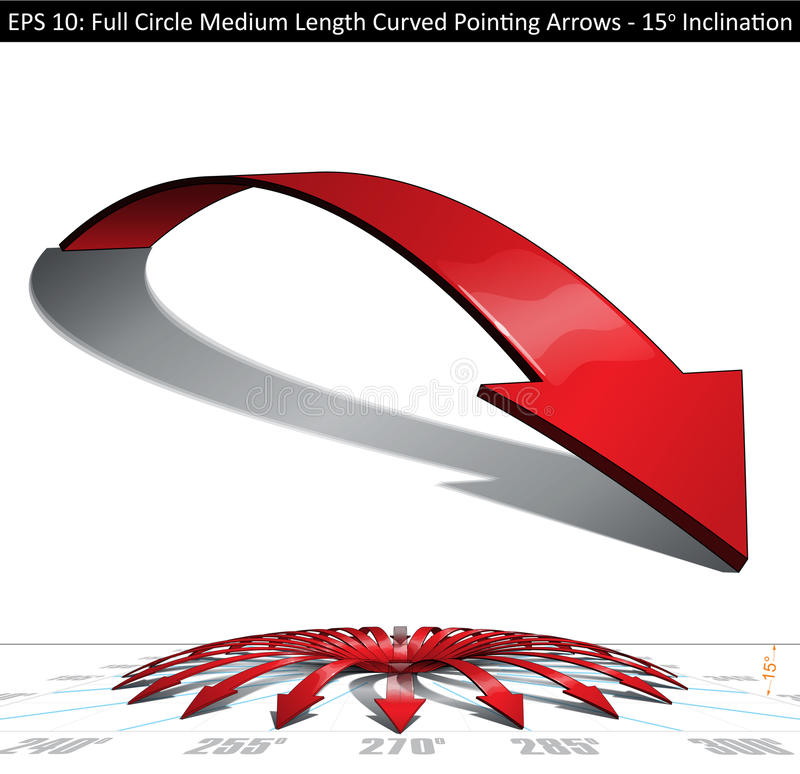 Full Circle Medium Length Curved Pointing Arrows Set - 15 Degree royalty free illustration
