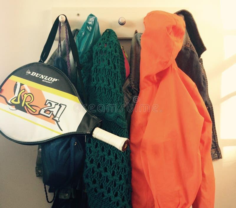 Full coat rack stock image