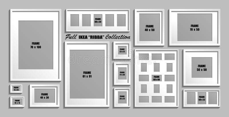 Full collection of IKEA Ribba photo frames. Real sizes. Vector set of white picture frames with passepartout stock illustration