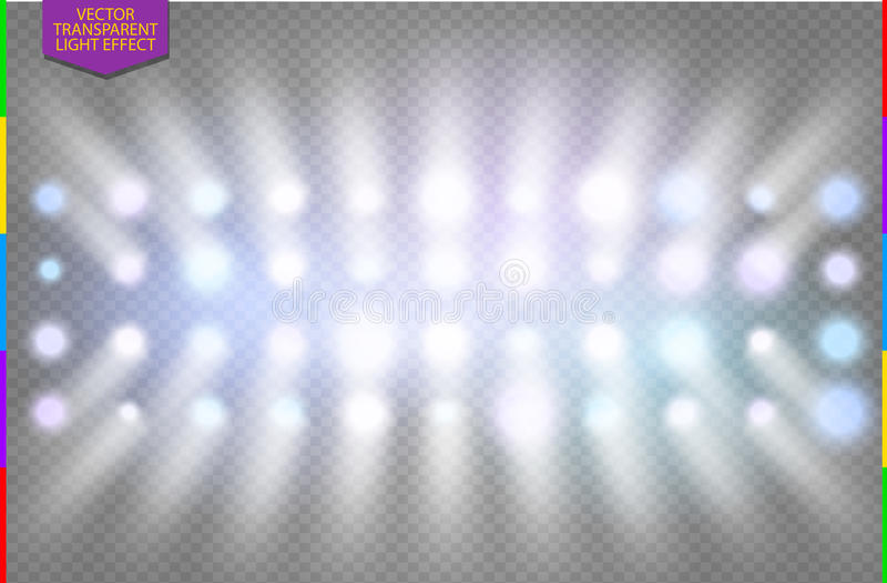 Full color disco spotlight light effect royalty free illustration