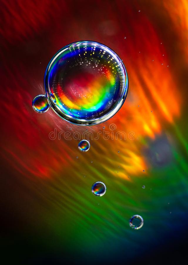 Full color rainbow bubbles abstract art water stock photography