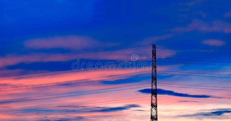Full color for sky. Silhouette and full color for sky stock image