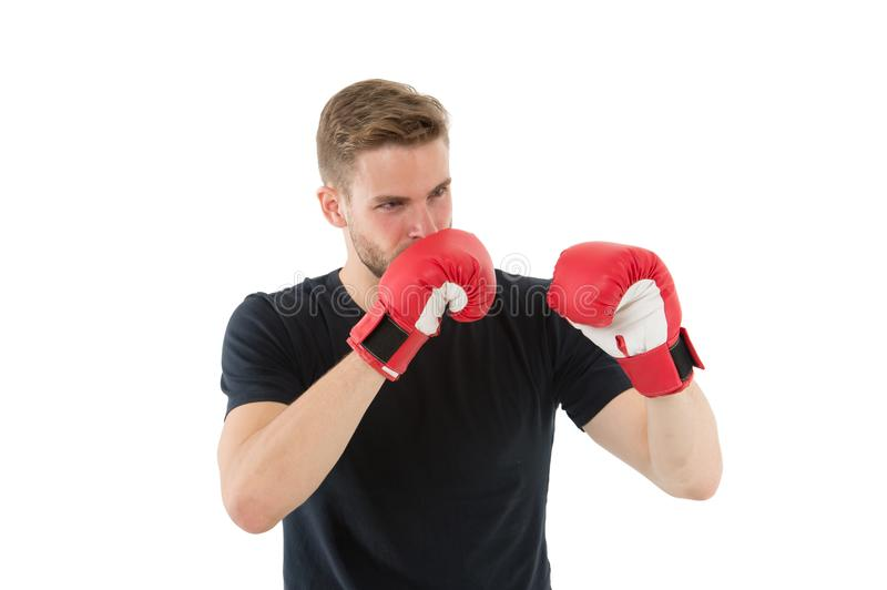 Full concentration. Sportsman concentrated training boxing gloves. Athlete concentrated face with sport gloves practice stock photo
