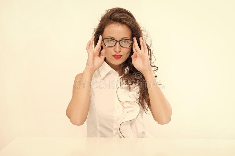 Full concentration at work. Back to school. Girl with red lips in glasses. Fashion and beauty. Pretty school teacher. Business school coach. Dress code. Sexy royalty free stock photos