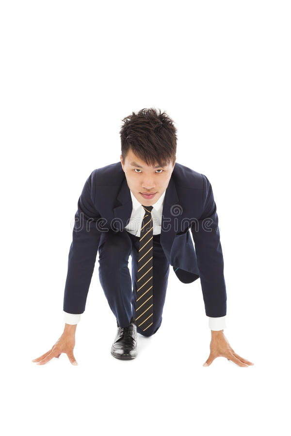 Full of confidence businessman make a running pose royalty free stock photos