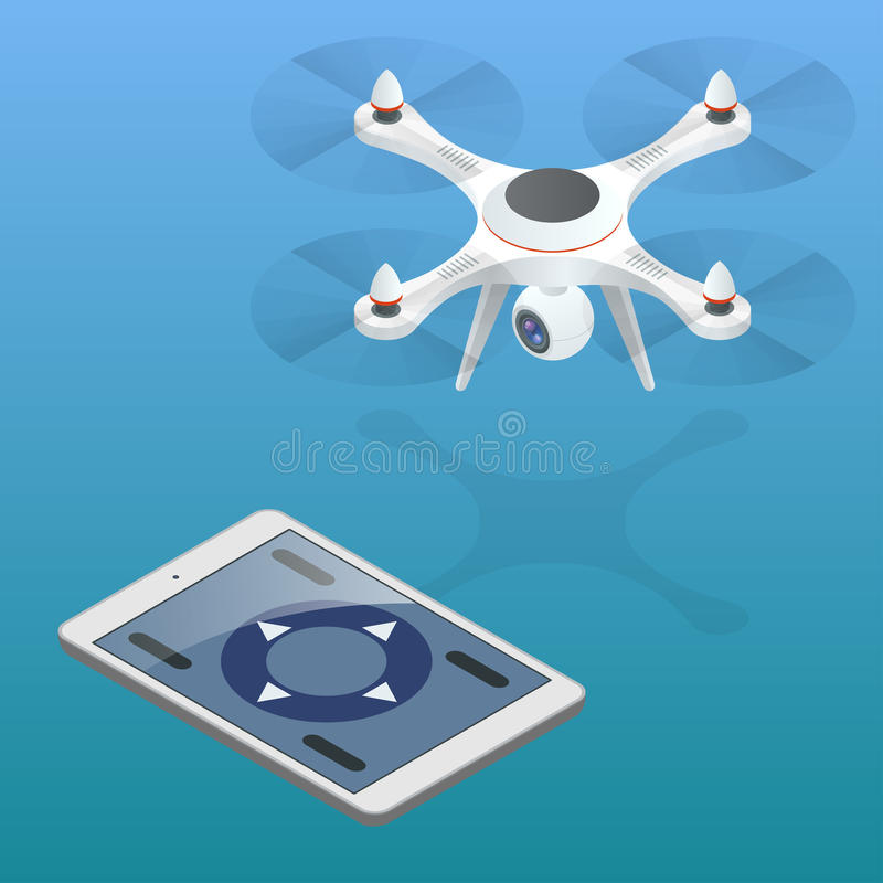 Full control of drone. Drone being flown in an urban area. Drone aerial photography concept. Drone isometric. Drone EPS. Drone quadrocopter 3d isometric