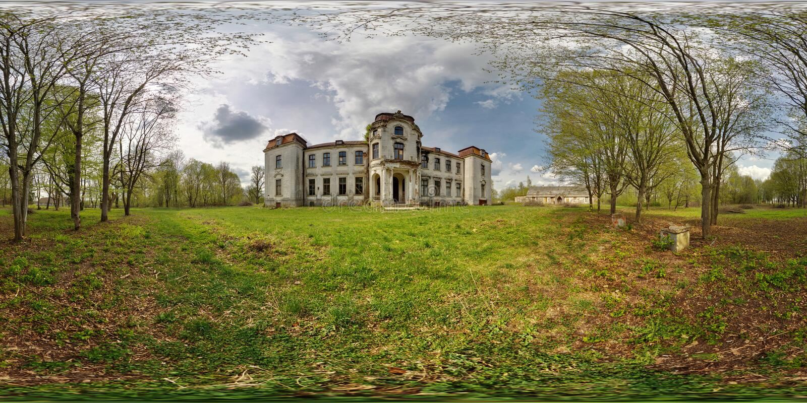 Full 360 degree panorama in equirectangular spherical projection old abandoned medieval castle in sunny day, VR content royalty free stock image