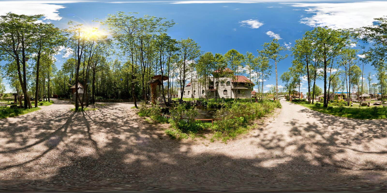 Full 360 degree panorama in equirectangular spherical projection old medieval castle in sunny day, VR content stock images