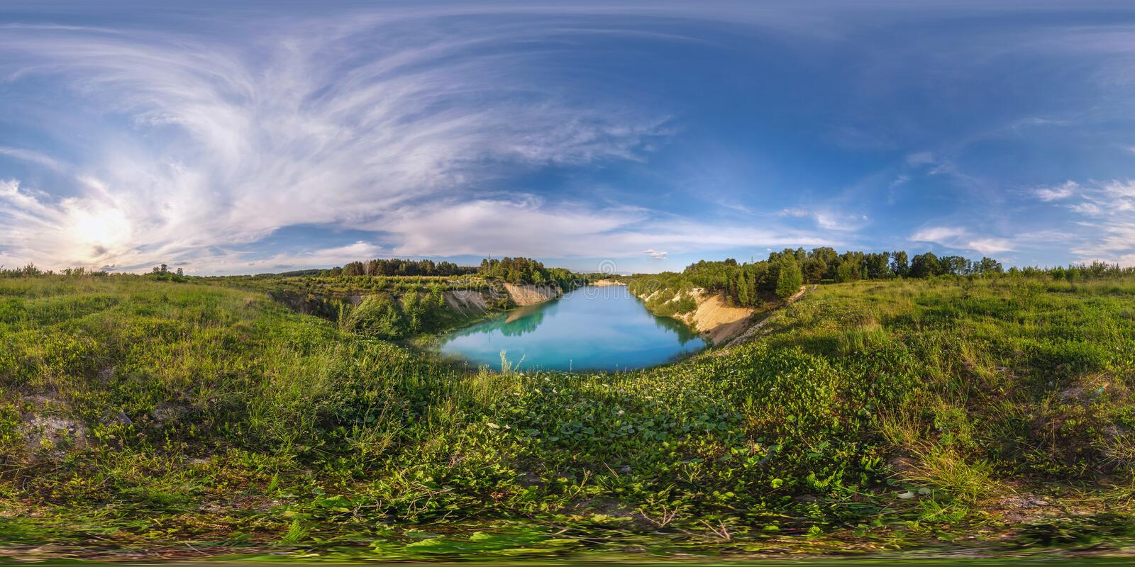 Full 360 degree seamless panorama in equirectangular spherical equidistant projection. Panorama near beautiful blue lake at sunset. Background for virtual stock photography