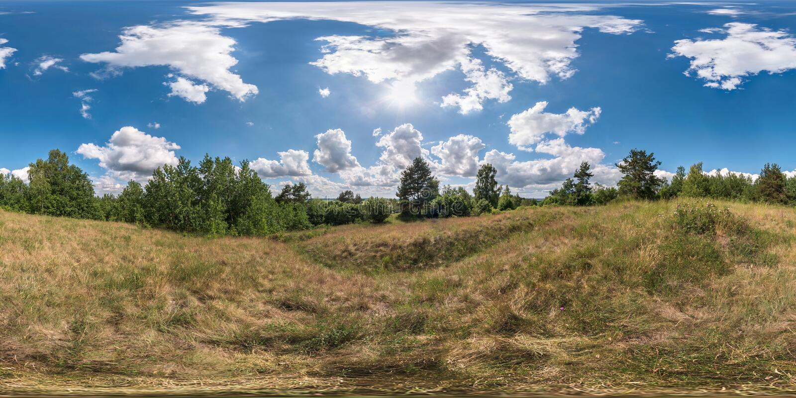 Full 360 degree seamless panorama in equirectangular spherical equidistant projection. Panorama view in a field in beautiful day royalty free stock images