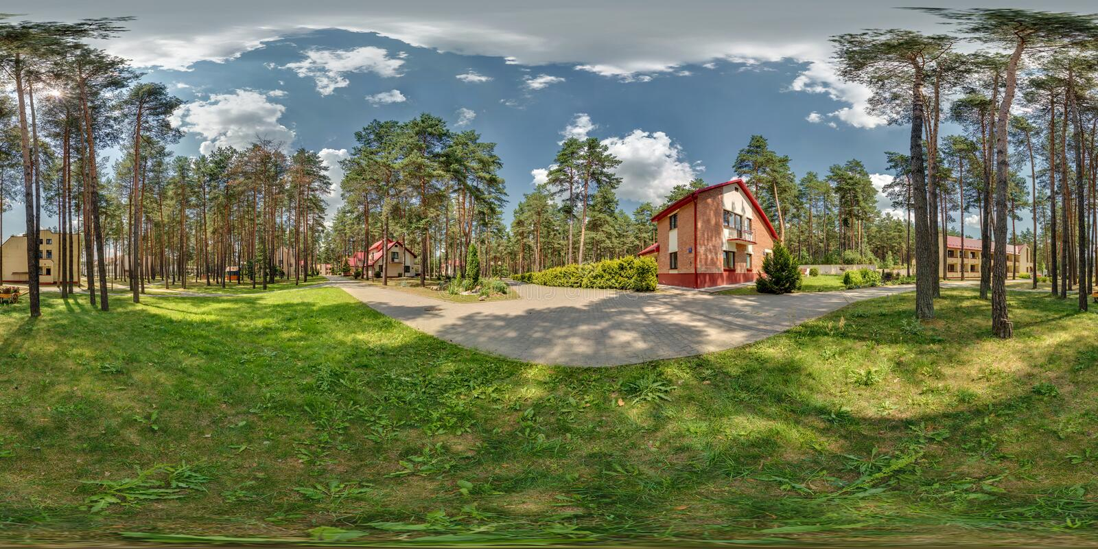 GRODNO , BELARUS - JUNE 6, 2013: Full 360 degree seamless panorama in equirectangular spherical projection near vacation home in royalty free stock images