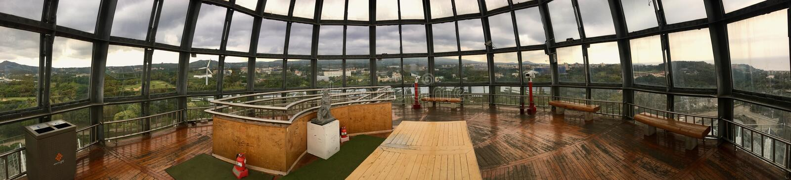 Full 360 degrees top viewing deck room with full glass panel allowing maximum visibility of Jeju at Yeomiji Botanical Garden royalty free stock image