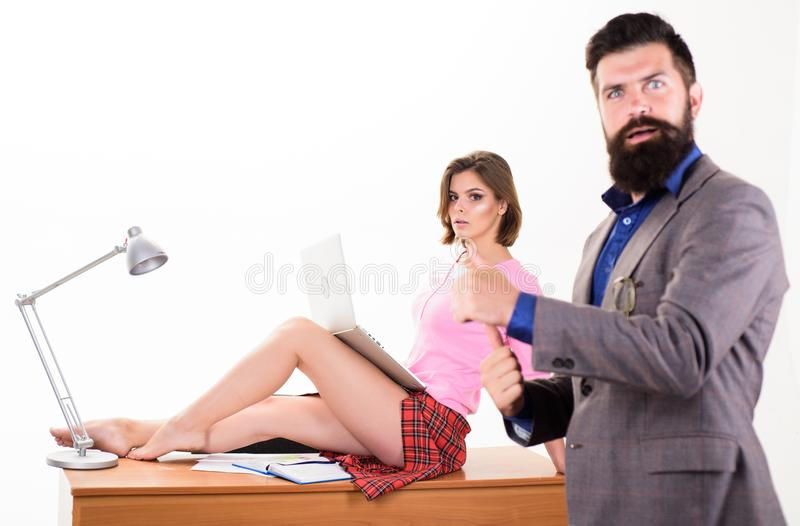 Full of desire. Sexy lady worker attractive legs sit table. Boss excited about sexy secretary. Career growth royalty free stock images
