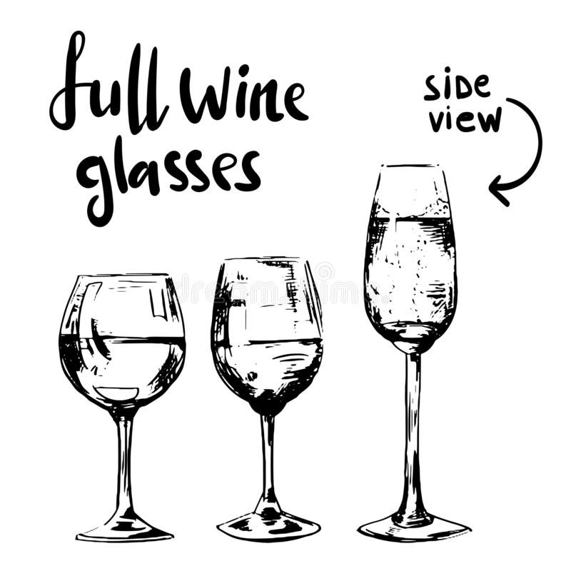 Full different wine glasses royalty free stock images
