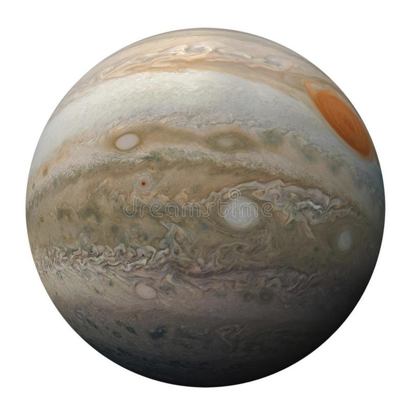 Full disk of planet Jupiter globe from space isolated royalty free stock photography