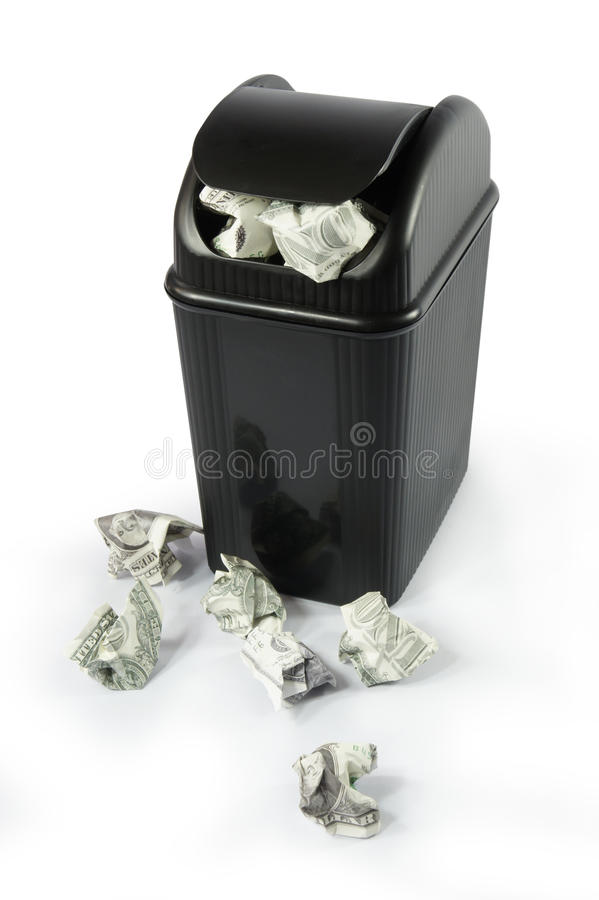Free Full Dollar Bin Full Dollar Paper Money Trash Stock Images - 18297404