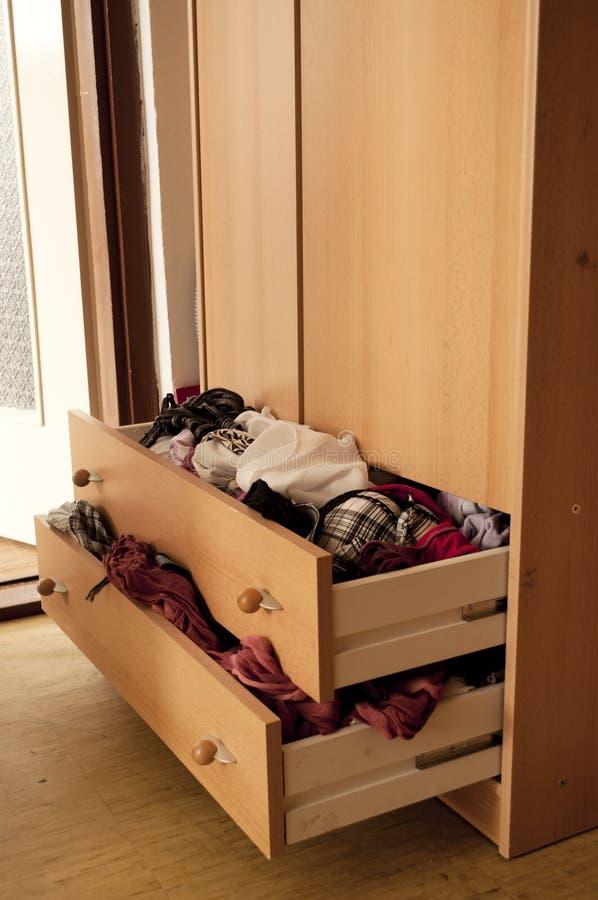Full drawers stock image
