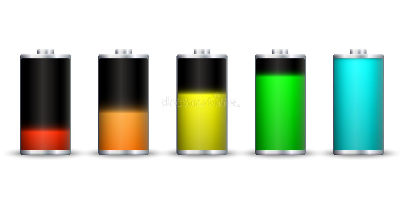 Full energy battery charge. Accumulator Load design stock illustration