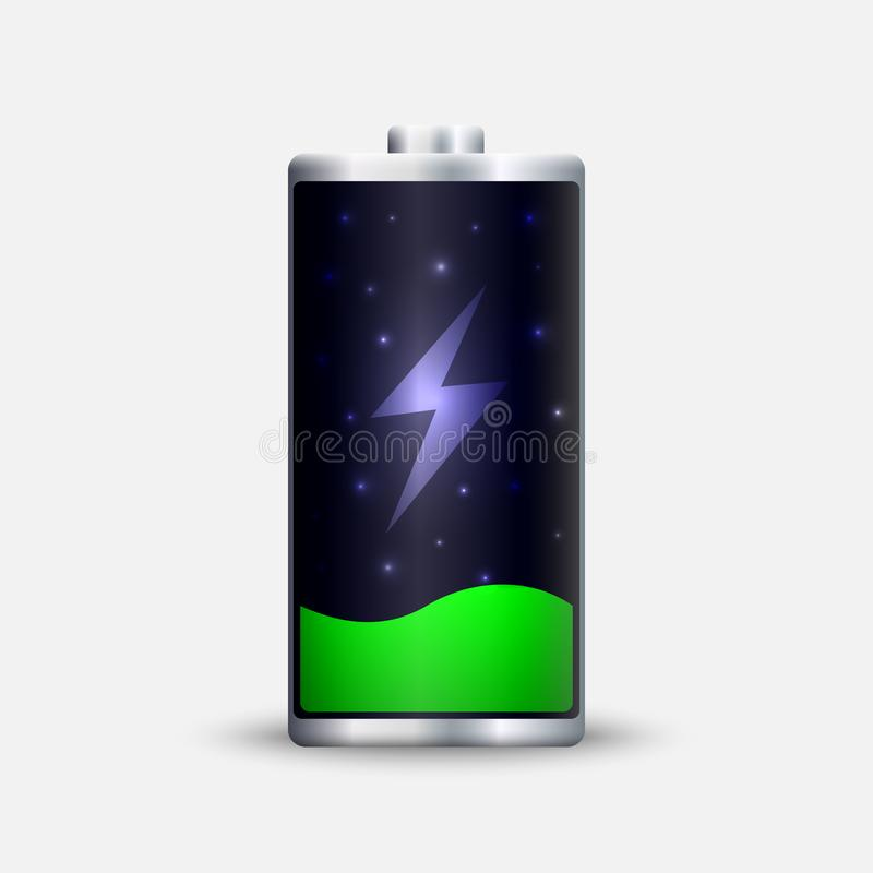 Full energy battery charge. Accumulator Load design royalty free illustration