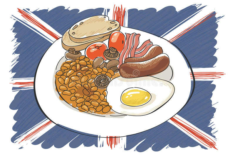 Full English breakfast. With union jack flag stock illustration