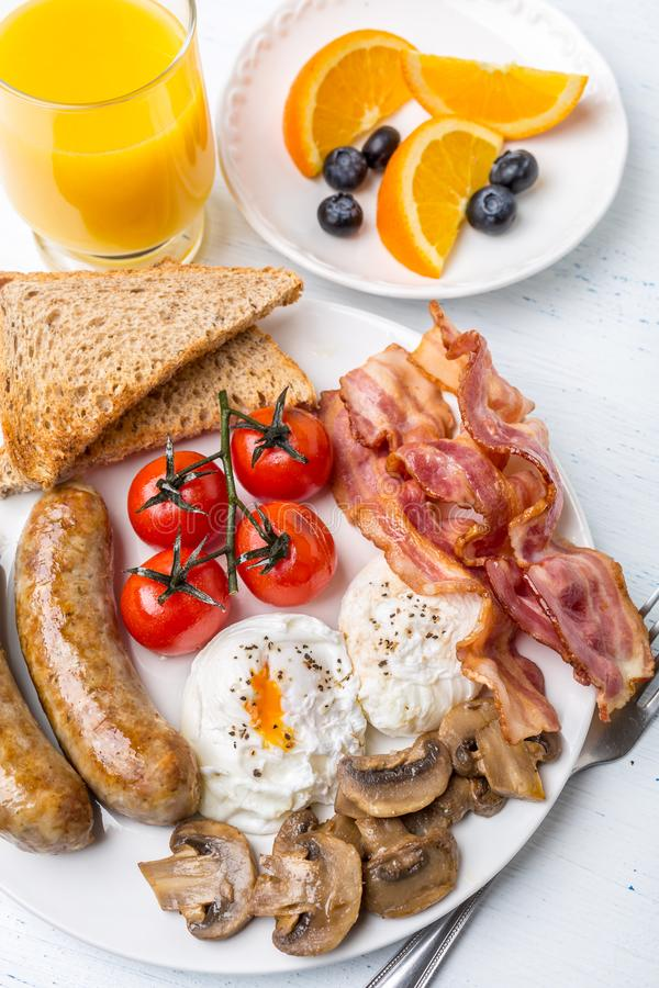 Full English Breakfast with Poached Eggs stock photography