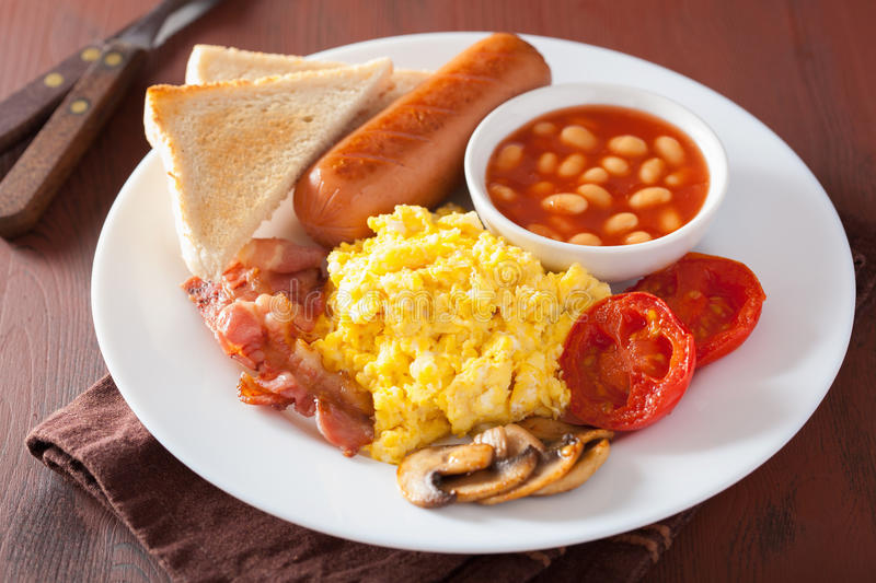Full English Breakfast With Scrambled Eggs, Bacon, Sausage ...