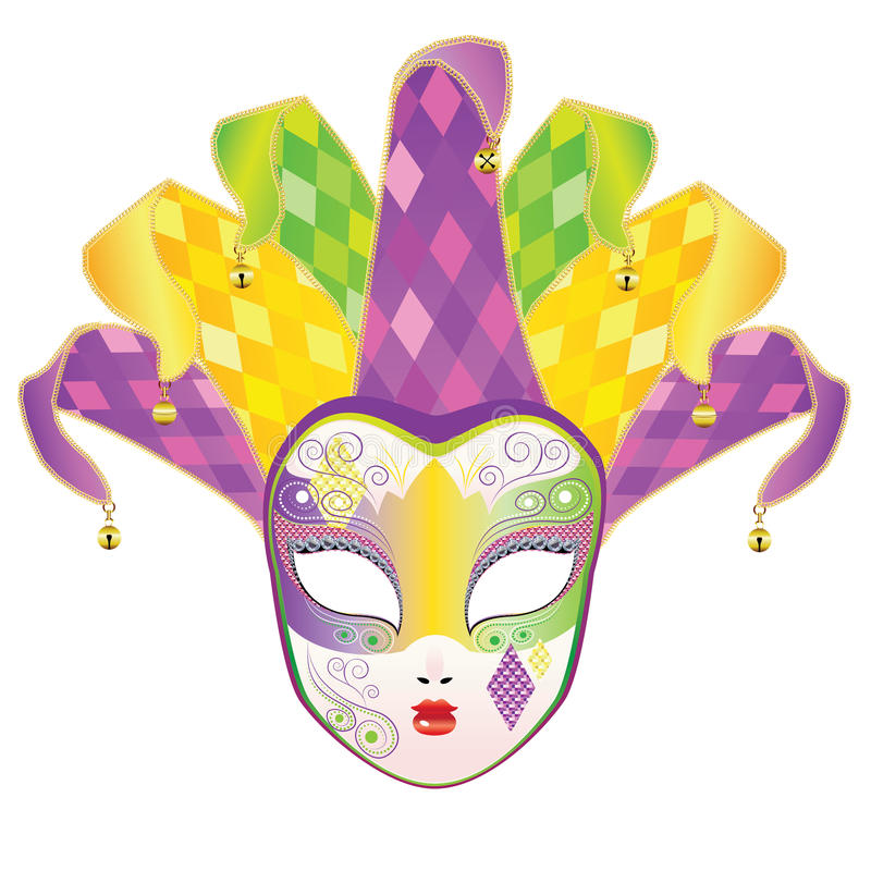Full Face Mask. Decorative full face carnival mask with jolly hat royalty free illustration