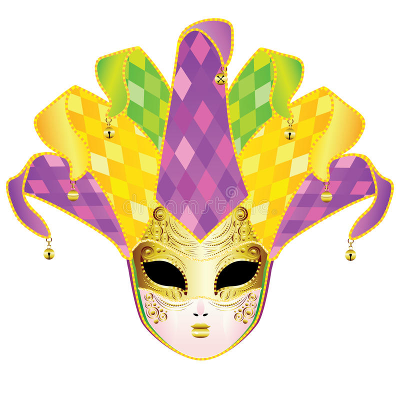 Full Face Mask. Decorative full face carnival mask with jolly hat vector illustration