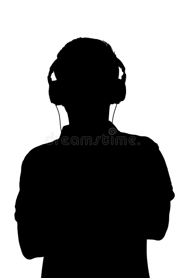 Silhouette of teenager listening to music in headphones, man folded his arms on the chest on white isolated background vector illustration
