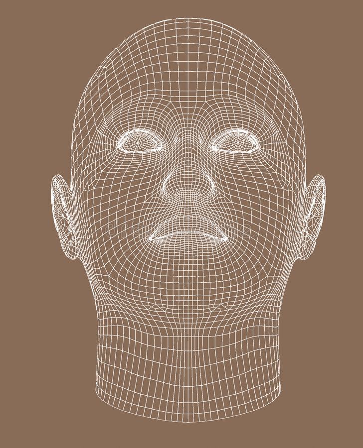 Full-face wireframe render young woman stock illustration