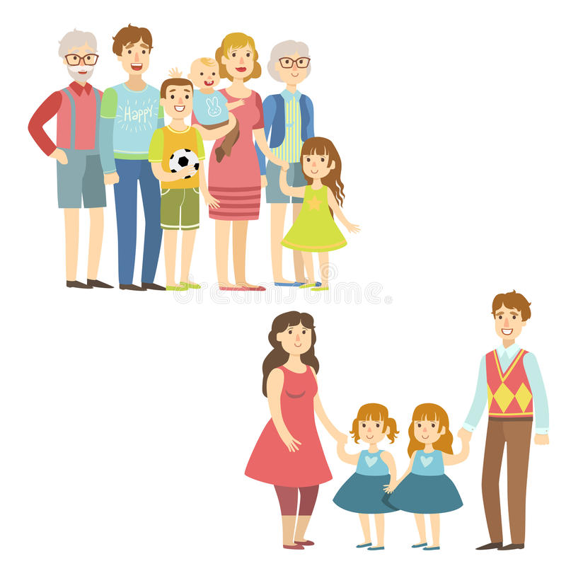 Full Families Posing Together. Simplified Cartoon Style Flat Vector Colorful Illustrations On White Background royalty free illustration