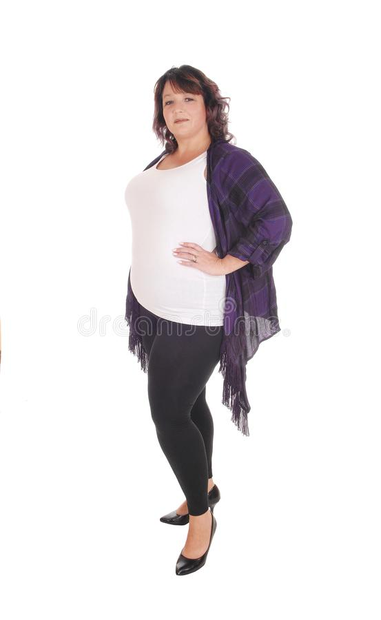 Download Full Figured Woman Standing In Tights Stock Image