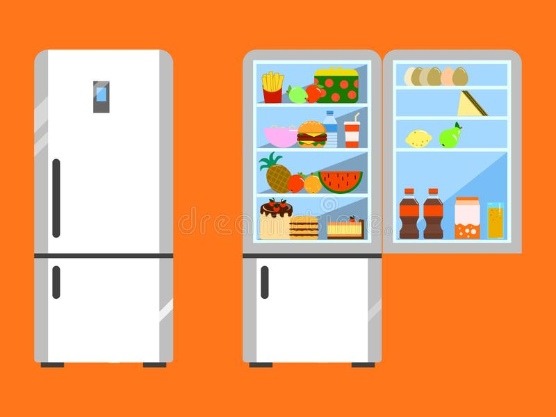 Full of food opened and close refrigerator. Fridge and fruit, freezer and vegetable. Flat design stock illustration