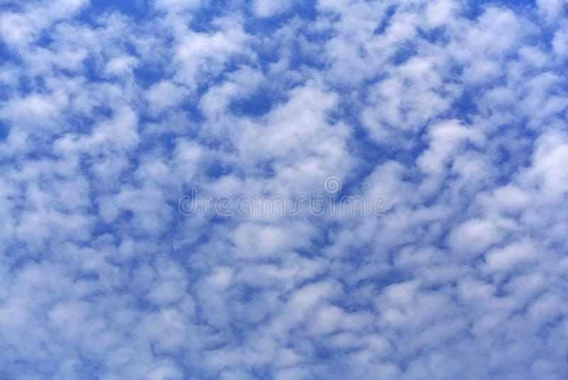 Full Frame Background of Blue Cloudy Sky. Full Frame Background of Blue Cloudy Overcast Sky stock image