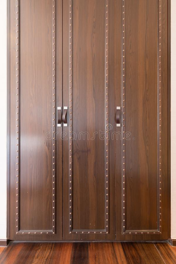 Full frame background of a Closed Wooden Door of a Closet. Thailand stock images