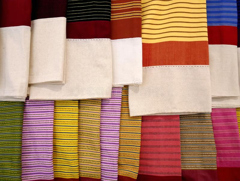 Full Frame Background of Colorful Striped Clothes royalty free stock photography