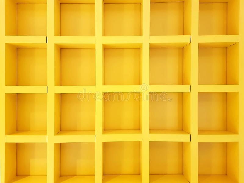 Full Frame Background of Yellow Box Shelves royalty free stock photography