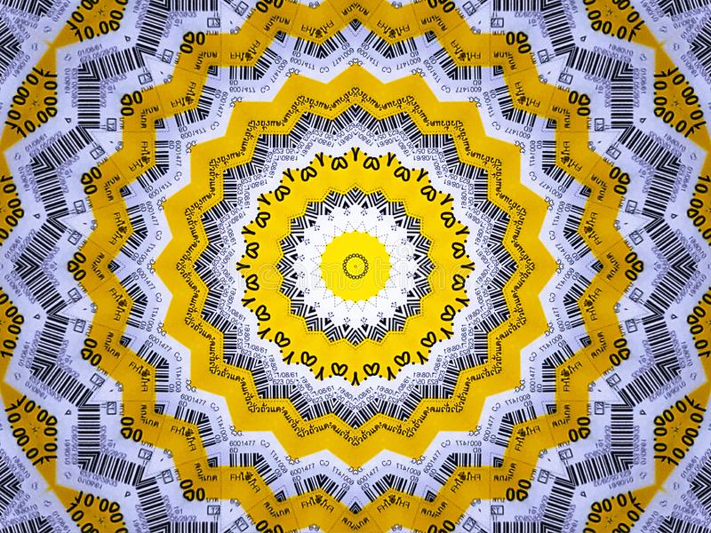 Background of Yellow and White Mandala with Bar Code Pattern. Full Frame Background of Yellow and White Mandala with Bar Code Pattern stock images