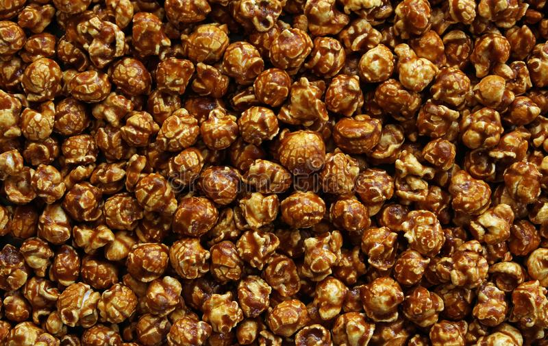 Caramel corn background. Full frame caramel corn background royalty free stock image